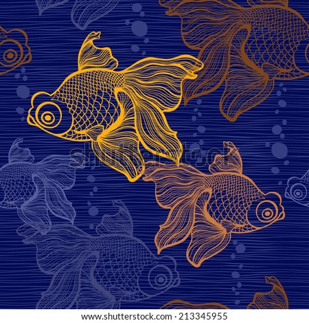 Seamless pattern with goldfish. - stock vector