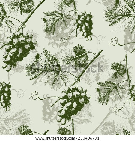 Seamless pattern with grapes and leaves. Hand drawn.   - stock vector