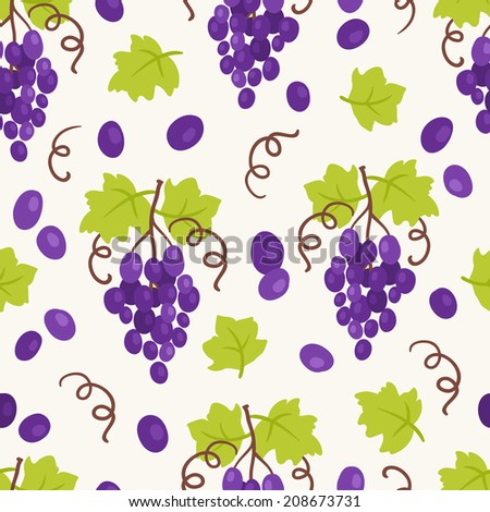 Seamless pattern with grapes. Perfect for wallpapers, pattern fills, web page backgrounds, surface textures, textile.  - stock vector