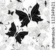Seamless pattern with graphic white, black and gray vintage butterflies (vector) - stock vector