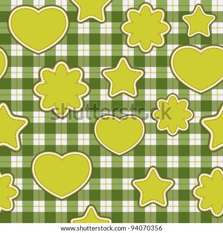 Seamless pattern with green applications on checkered background