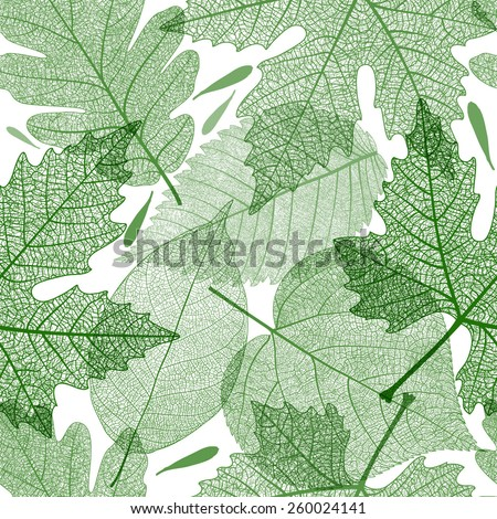 Seamless pattern with green sceleton leaves. Vector, EPS 10.  - stock vector