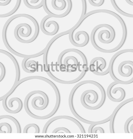 Seamless pattern with grey swirl ornament on white - stock vector