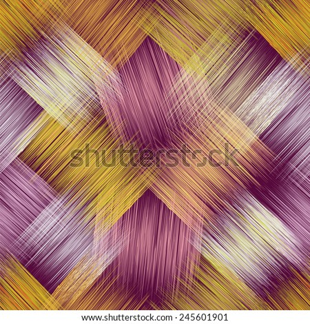 Seamless pattern with grunge diagonal striped square elements on purple background - stock vector