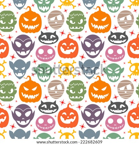 Seamless pattern with halloween characters - stock vector