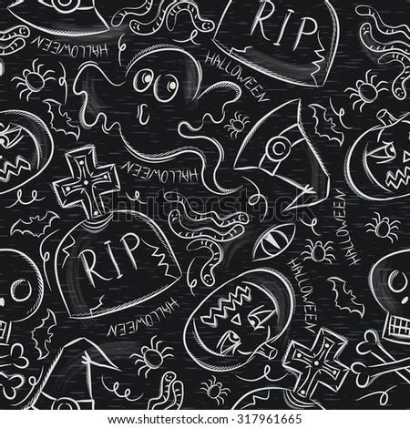 Seamless Pattern with Halloween objects on blackboard, vector - stock vector