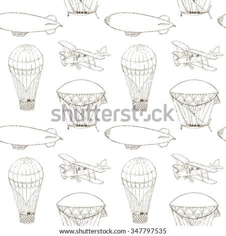 Seamless pattern with hand drawn aeronautic transport. Vector texture for web, print, kids wallpaper, textile, wrapping. Monochrome illustration. - stock vector