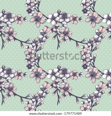 Seamless pattern with hand drawn blooming fruit tree twig. Vector vintage spring background - stock vector
