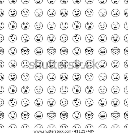 Seamless pattern with hand drawn by hand smiles.. Vector elements for emotion, internet web icons. - stock vector