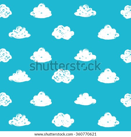 Seamless pattern with hand drawn clouds - stock vector