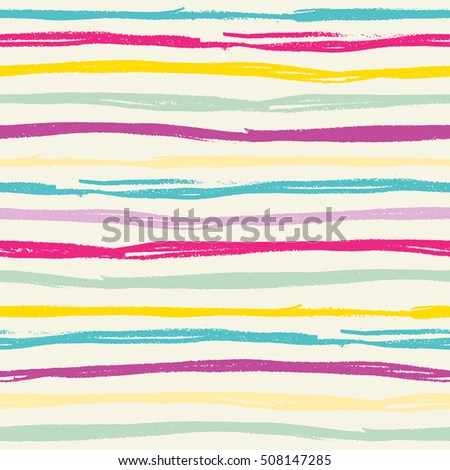 Seamless pattern with hand drawn color stripes