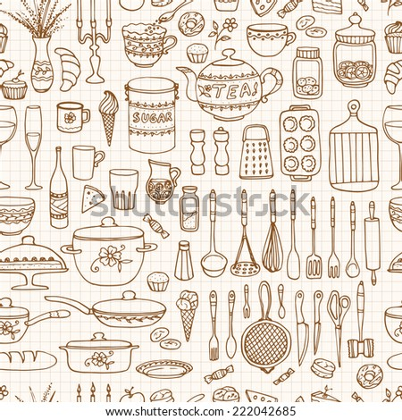 Seamless pattern with hand drawn cookware on the lined paper. Kitchen background. Retro wallpaper with doodle kitchen equipments. Vector illustration.