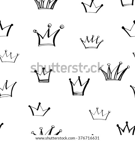 Seamless pattern with hand drawn crowns. Ink illustration. Seamless ornament for wrapping paper. Repeat design elements. Vector art.