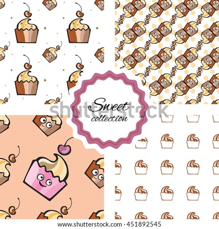 Seamless pattern with hand drawn cupcake, pastry, dessert and cherry. Vector background with pink and blue muffins. Print, package design, wrapping, textile