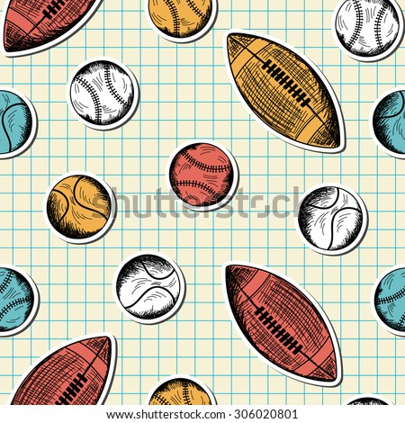 Seamless pattern with hand drawn different sport balls on checkered copybook background - stock vector