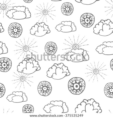 Seamless pattern with hand drawn doodle elements. Monochrome illustration isolated on white. Vector background with stylized sun, clouds and round ethnic design elements