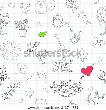 Seamless pattern with hand drawn doodles in copybook. Vector background. - stock vector