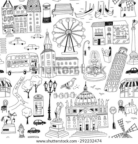 europe landmarks coloring pages | Seamless Pattern Handdrawn European Architecture Stock ...