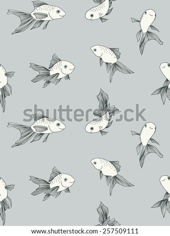 Seamless pattern with hand drawn fish - stock vector