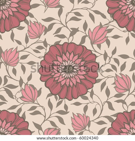 seamless pattern with hand drawn flowers, vector - stock vector
