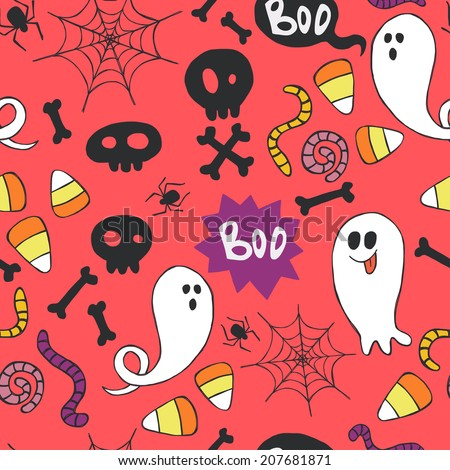 Seamless pattern with hand drawn halloween doodles.  Childish tiling background with cartoon spooky ghosts, skulls, bones, spider and candy corns. - stock vector