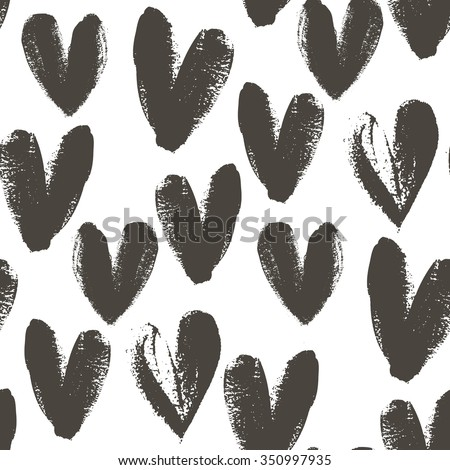Seamless pattern with hand drawn heart. Hearts painted dry brush. Ink illustration. Ornament for wrapping paper. Isolated on white background. Artistic texture. - stock vector