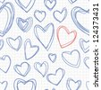 Seamless pattern with hand drawn hearts. Vector repeating doodle about love - stock vector
