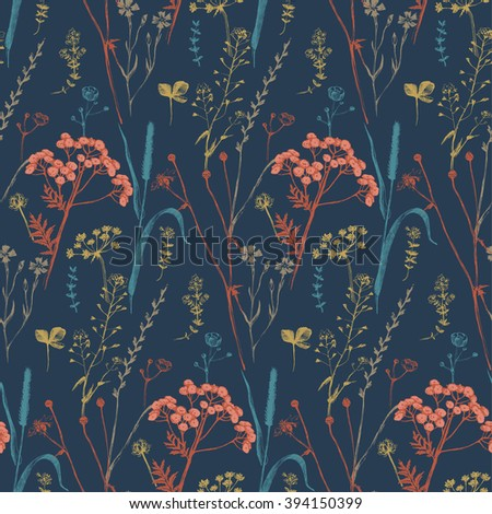 Seamless pattern with hand drawn herbs and flowers - stock vector
