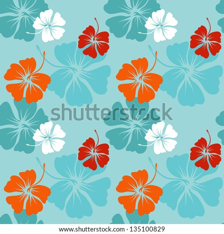 seamless pattern with hand drawn hibiscus flowers on the blue background vector
