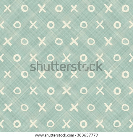 seamless pattern with hand drawn hipster XOXO on texture background - stock vector
