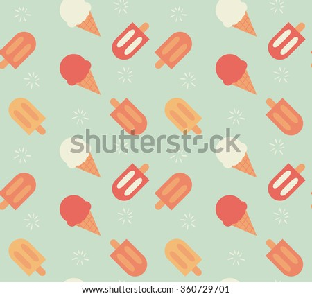 Seamless pattern with hand drawn ice cream, vector illustration - stock vector