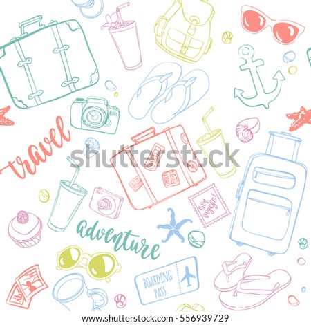 Seamless pattern with hand drawn journey items. Colorful suitcases, sunglasses, beverages, flip flops, cameras, seashells and other travel elements on white background.