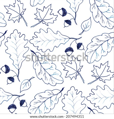 Seamless pattern with hand drawn leaves - stock vector