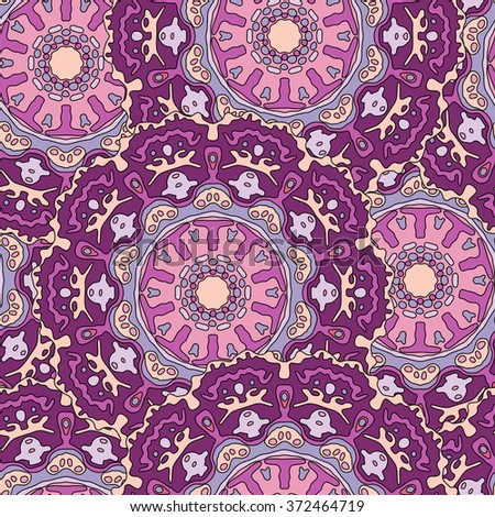Seamless pattern with hand drawn mandala. Colorful vector illustration with purple ethnic design - stock vector