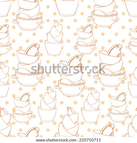Seamless pattern with hand drawn piles of cups and plates and circles. Vector illustration. - stock vector