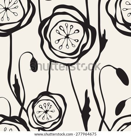 Seamless pattern with hand drawn poppies. Stylish graphic flowers. Stylized floral monochrome background. - stock vector