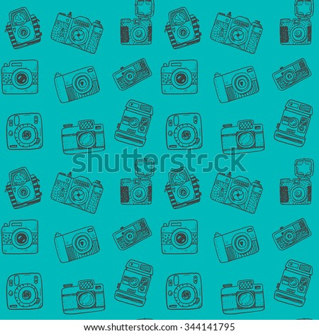 Seamless pattern with hand drawn retro cameras - stock vector
