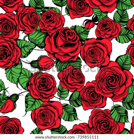 Seamless Pattern Hand Drawn Roses Stock Vector 739855111 Shutterstock