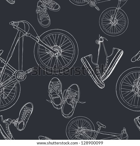 Seamless pattern with hand drawn sneakers and mountain bicycles. Vector background. - stock vector