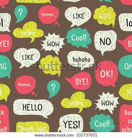 Seamless pattern with hand drawn speech and thought bubbles. Doodle design with short messages. - stock vector