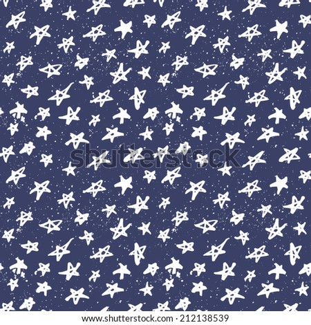 Seamless pattern with hand drawn stars. Abstract ink stars background. Blue and white abstract ornament with stars. - stock vector