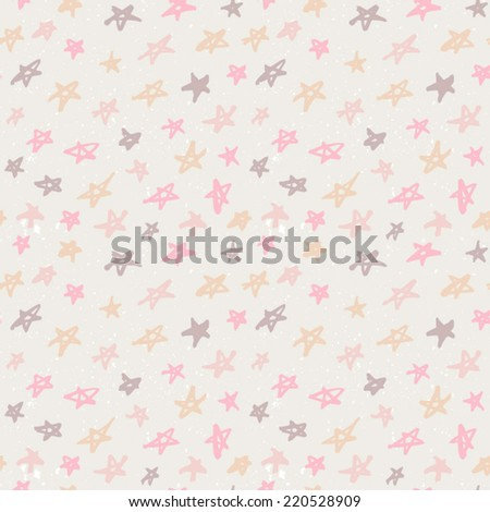 Seamless pattern with hand drawn stars. Abstract ink stars background. Classic beige abstract ornament with stars. - stock vector