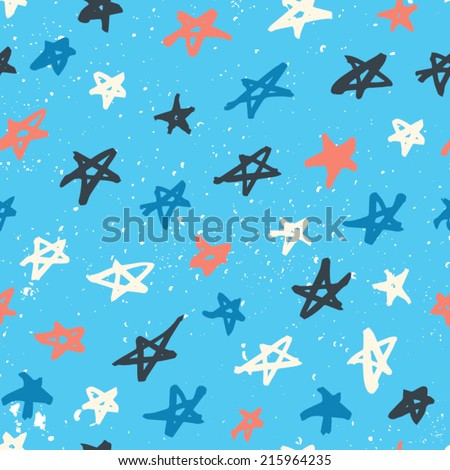 Seamless pattern with hand drawn stars. Abstract ink stars background. Multicolored abstract ornament with stars. - stock vector