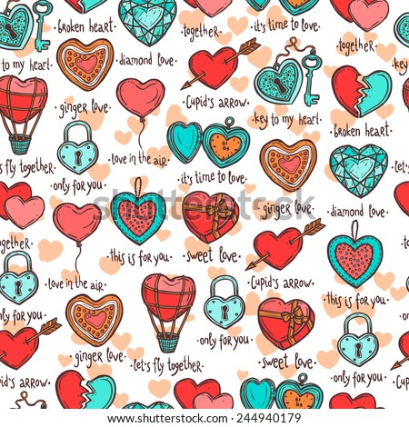 seamless pattern with hand drawn valentine hearts, set of objects in the form of heart with funny text - stock vector