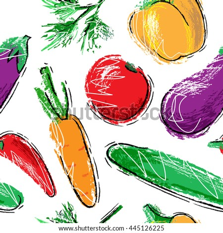 Seamless pattern with hand drawn vegetables.  Carrot, cucumber, tomato, paprika, pepper, eggplant, dill