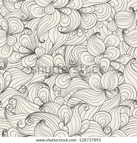 Seamless pattern with hand-drawn waves. - stock vector