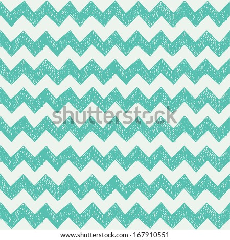 Seamless pattern with hand drawn zig zag. Vector illustration - stock vector