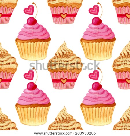 Seamless pattern with hand painted watercolor cupcakes with hearts and sweet cherries. Vector background with pink colorful cakes. Print, package design, wrapping, textile  - stock vector
