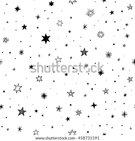 Seamless pattern with handdrawn stars. Doodle monochrome vector illustration.