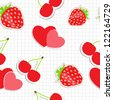 Seamless pattern with heart, cherry, strawberry. Vector illustration - stock